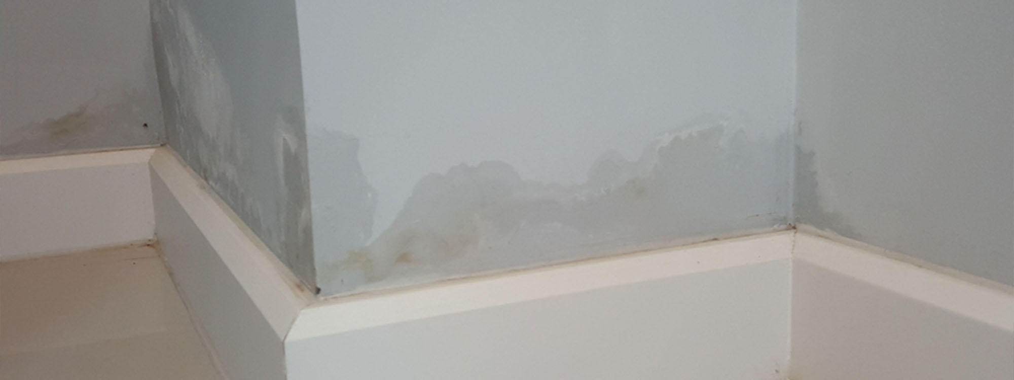 damp blue wall above floor skirting